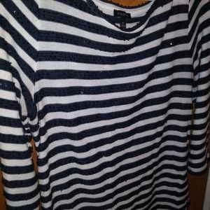 Talbot's striped three quarter sleeve pull over to